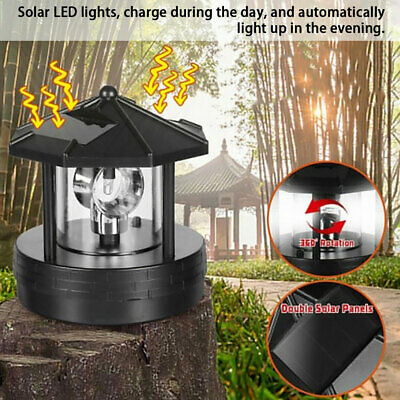 Solar Powered Torch Lighthouse Rotating LED Light Garden Waterproof Ornament • 8.69£