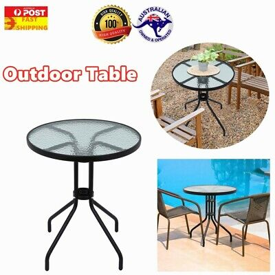 AU50 • Buy Round Garden Table Ripple Glass Tabletop Stylish Modern Patio Outdoor Furniture