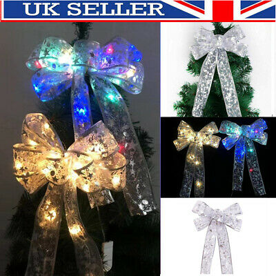 Christmas LED Tree Top Topper Ribbon Bow Light Up Bow Xmas Hanging Decoration • 5.59£