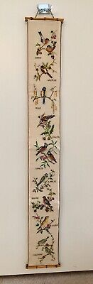 Vintage Embroidered Birds Bell Pull Wall Hanging Bamboo Ends Lined 44  Long • 46.15£