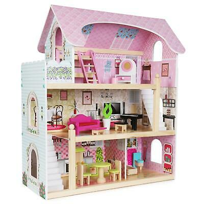 £69.99 • Buy Boppi 3 Floor Wooden Toy Dolls House With 16 Furniture Accessories New
