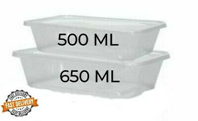 Plastic Food Containers Clear Lids Takeaway Microwave Box Storage Tupperware • 6.99£