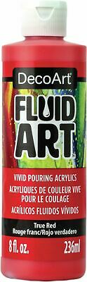 DecoArt FluidArt Ready-To-Pour Acrylic Paint 8oz-True Red -DFA-03 • 11.32£