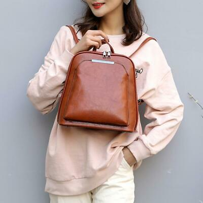 Vintage Oil Wax Leather Backpack Women Travel School Bags (Light Brown) • 14.09£