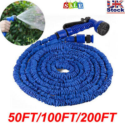 Expandable Garden Hose Flexible 50-200FT Pipe With Spray Gun HighPressure Strong • 11.99£