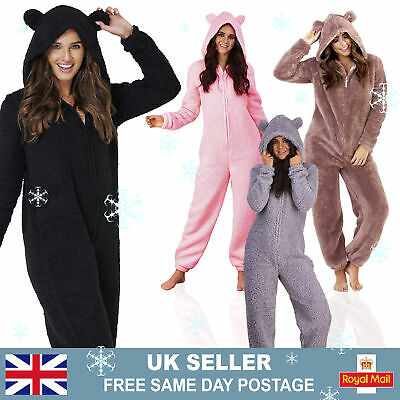 Womans Teddy Bear Hooded Pyjamas | All-In-One Sherpa Fleece One Piece Pjs | UK • 19.95£