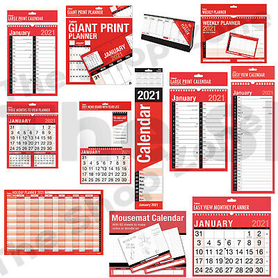 £1.29 • Buy 2021 Wall Calendar Slim Calendar,Large Month To View Planner,Easy View Calender