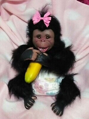 HandPainted Reborn Baby Monkey🐒Chimp W/full Fur Body! Doll • 617.95£
