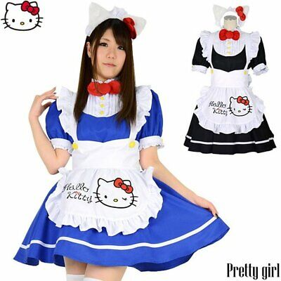 $81.99 • Buy Hello Kitty Sanrio 8mm Cosplay Maid One Piece Costume L Size Blue Japan