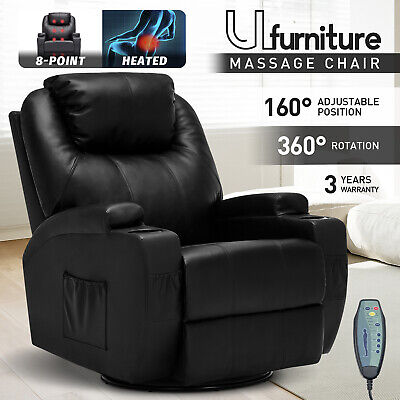 AU459.90 • Buy Recliner Chair Electric Massage Heated Chairs Lounge Swivel Sofa Black Leather