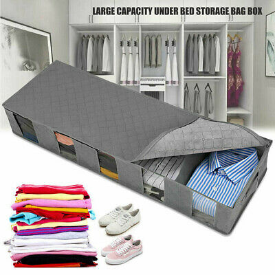 New Large Capacity Under Bed Storage Bag Box 5 Compartments Clothes Organizer Aq • 5.39£