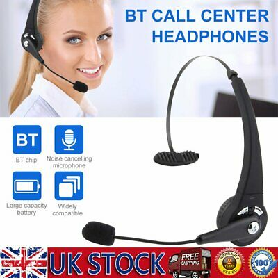 Bluetooth Wireless Headphone Noise Cancelling Over Ear Headset Call Center W/MIC • 15.79£