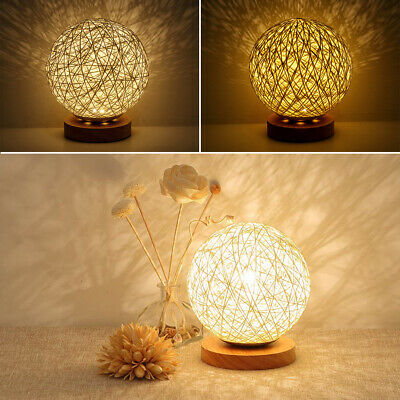 AU18.80 • Buy Wooden Rattan LED Table Desk Bedside Night Light Lamp Home Room Decor Warm 🔥