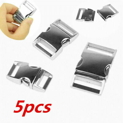 5pcs 25mm Silver Metal Buckle Webbing Strap Bag Fastener Side Release Clasp Clip • 6.89£