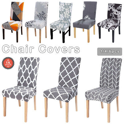 1/4/6 PCS Dining Chair Seat Covers Slip Stretch Wedding Banquet Party Removable • 3.99£