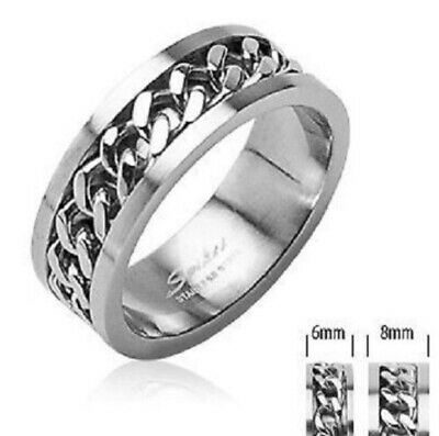 New Mens 316l Stainless Steel Spin Chain Ring Band Choose Size Uk Seller (h41) • 3.45£