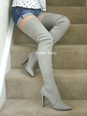 NEW Grey Soft Faux Suede Extra Long Over Knee / Thigh / Crotch Boots  UK 5/EU 38 • 0.99£