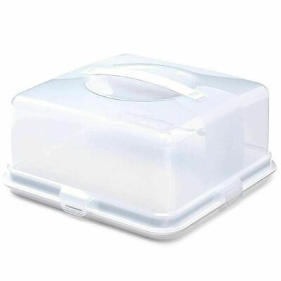 Plastic Cake Box Square Cake Storage Carrier Container Clear Lockable Lid Cover • 9.99£