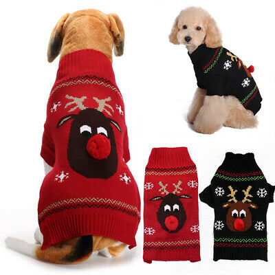 Christmas Pet Dog Xmas Winter Outfit Clothes Puppy Cat Reindeer Hoodie Coat UK • 5.25£