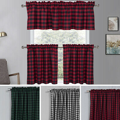£10.89 • Buy Country Gingham Checkered Plaid Window Curtain Valance / Tiers Kitchen Curtains