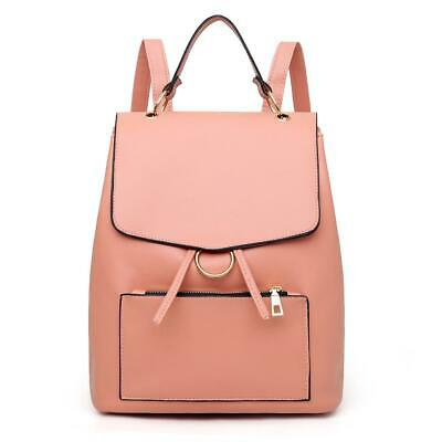 Leather Women Casual School Bags Shoulder Handbag Travel Backpacks (Pink) • 11.89£