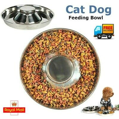 UK Feeder Bowl Stainless Dish Puppy Dog Pet Cat Litter Food Feeding Weaning NEW • 9.89£