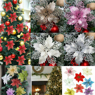 10X Christmas Large 11cm Poinsettia Glitter Flower Tree Hanging Party Decoration • 5.59£