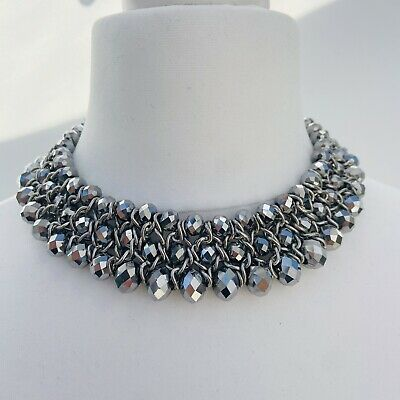 £11.99 • Buy Costume Jewellery Silver Tone Faceted Bead Statement Necklace