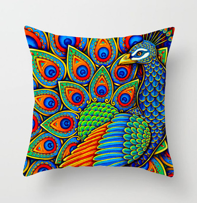 Cushion Cover Peacock Feather New Style Pillowcase Peach Skin Pillowcase • 0.99£