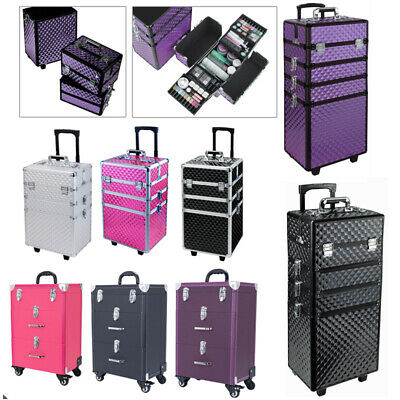 Makeup Train Case Professional Cosmetic Case Wheels Beauty Trolley Artist Carry • 55.95£