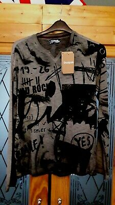 Bnwt 40  Chest Small Desigual Man Long Sleeve Top You Rock Grey Black  • 9.99£