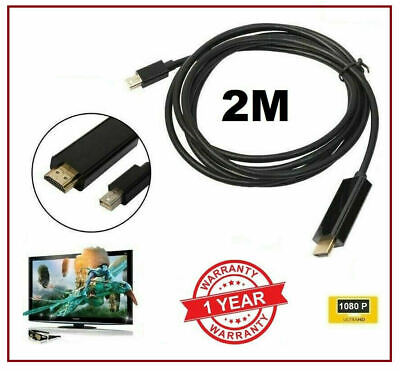 1.8M Mini DISPLAY PORT DP TO HDMI MALE LCD PC HD TV LAPTOP AV CABLE ADAPTOR • 3.30£