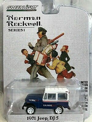 $11.95 • Buy Norman Rockwell 1971 Jeep DJ 5 Blue White Diecast Mail Truck Greenlight New 2018