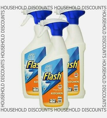 3 X Flash Kitchen Spray Degrease Effect Removes Grease Grime Citrus Scent 450ml  • 4.99£