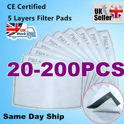 50-200 PM2.5 Filter For Washable Reusable Face Mask 5layer With Activated Carbon • 5.85£
