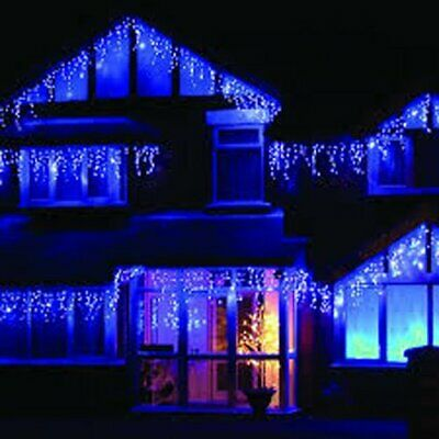 Blue & Whit 29 Watt Brite Ideas Snowing Icicle LED Bulb Lights String In/Outdoor • 169.99£