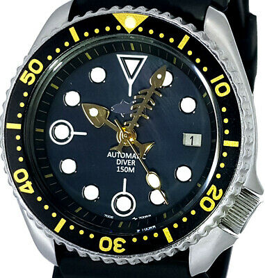 $ CDN24.25 • Buy Vintage Watch SEIKO Diver 7002 Mod W/Fishbone Set On Black Mother Of Pearl Dial