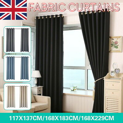 Thick Thermal Blackout Curtains Eyelet Ring Top Ready Made Pair Curtain Panel UK • 17.99£
