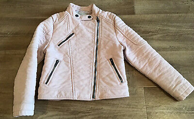 Girls Baby Pink Biker Style Jacket Age 6-7 Years Matalan Faux Leather • 1.40£