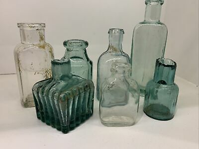 Vintage Antique Mixed Chemist Glass Bottles Jars X7 Aqua Clear Green Job Lot • 9.99£