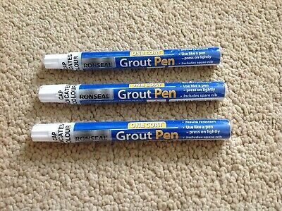 Ronseal One Coat 3 Tile Grout Pens Brilliant White 7ml Includes Spare Nib • 13.50£