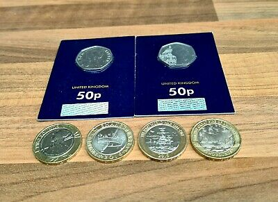 £2 Coins Job Lot 4x Rare Two Pounds & 2x 50p Brilliant Uncirculated BUNC Sealed • 12.49£