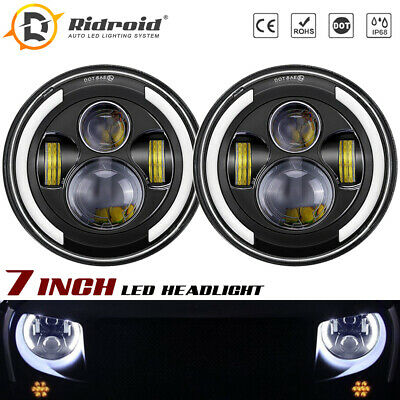 $44.99 • Buy 7  Halo Ring DRL Sealed LED Headlight For Chevy Camaro 67-81 Chevelle Chevette