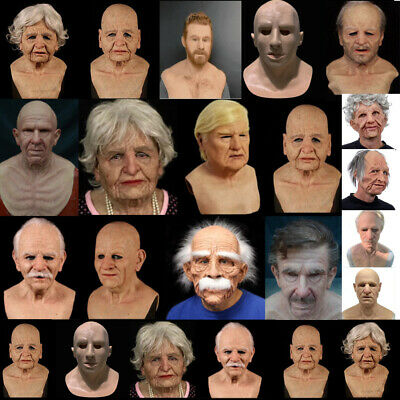 $ CDN27.91 • Buy Halloween Realistic Wrinkle Face Mask Old Man Latex Headwear Costume Party Props