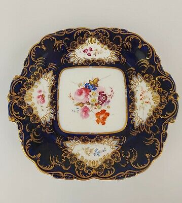 Antique Early Coalport Cabinet Plate Square Cobalt And Gold Gilt 1800s 19thC • 49.99£
