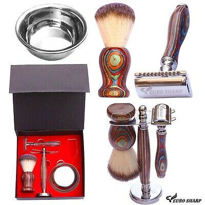 Mens Shaving Set Double Edge Safety Razor Brush Stand Bowl Kit 4 PCS Gift Box   • 29.95£
