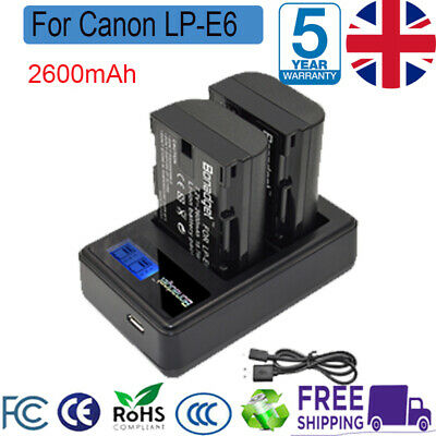 2X 2600mAh LP-E6 Battery +LCD Dual Charger For Canon EOS 70D 60D Mark II CAM DP • 15.49£