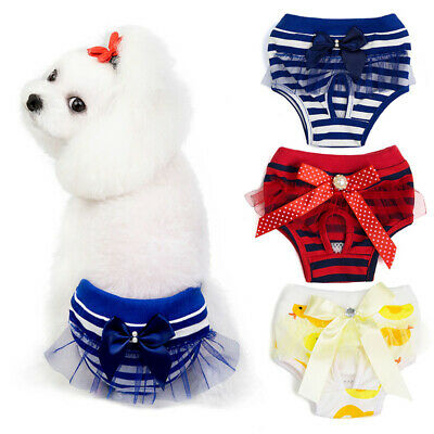 Female Pet Dog Physiological Stripe Pants Sanitary Nappy Diaper Shorts Underwear • 3.99£