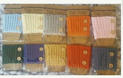 £4.50 • Buy New Hand Knitted Coffee Cup Warmer Choice Of Colours