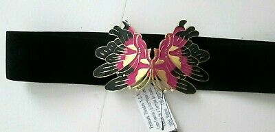 BLACK ELASTICATED NURSES WASPIE BELT Pretty BUTTERFLY CLASP NEW With Tags XMAS • 2£